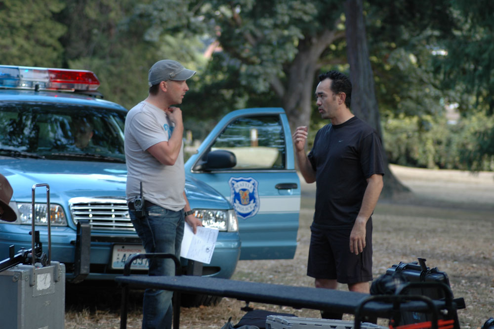 (L to R) Matthew Billings (director) and Cliff Lee (martial artist) going over the shoot plan.