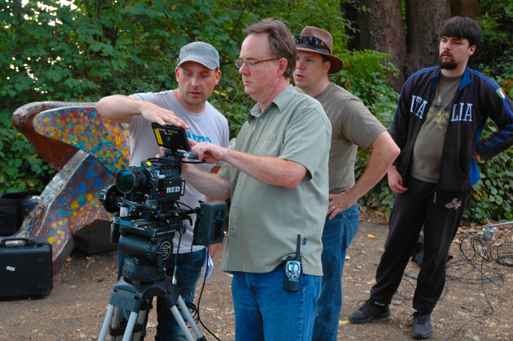 (L to R) Matthew, Scott, Sunshine, and John Cameron Rutherford (camera assistant)