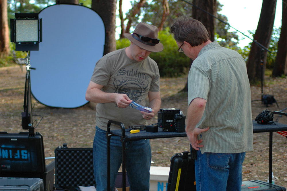 (L to R) Sunshine Whitton and Scott Gwin (camera operator) assembling the RED Epic.