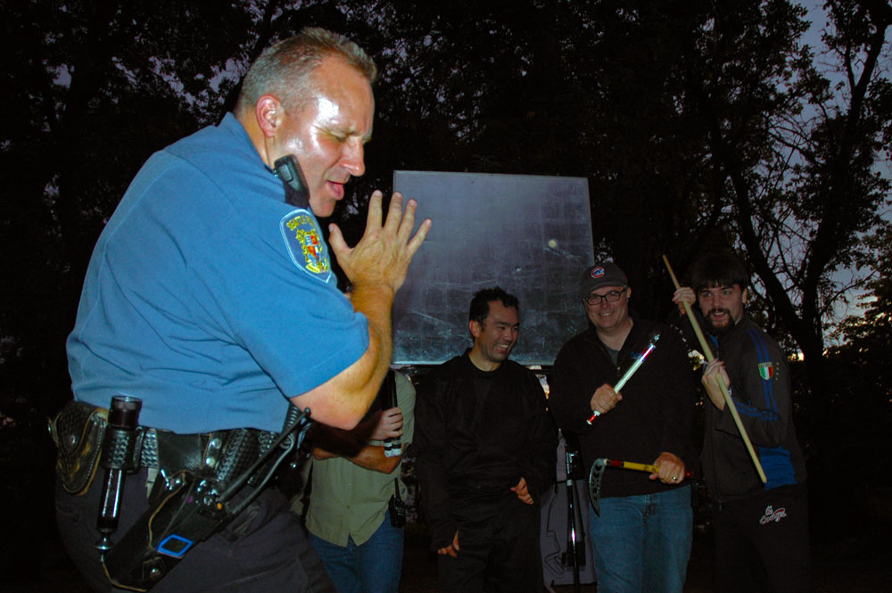 We surprised Officer Erik Warner who worked the shoot with us and tried to get him in the shot. He was totally professional and a great guy on set.