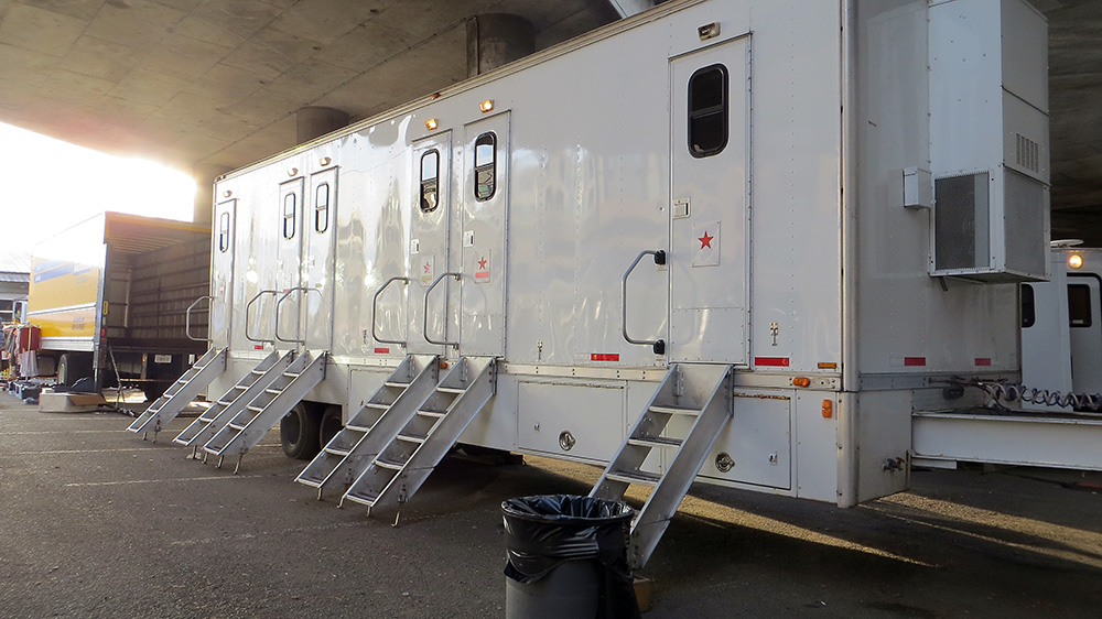Trailers for the stars to change clothes and chill in. They also had trailers on set. Wardrobe was several miles from the sets.