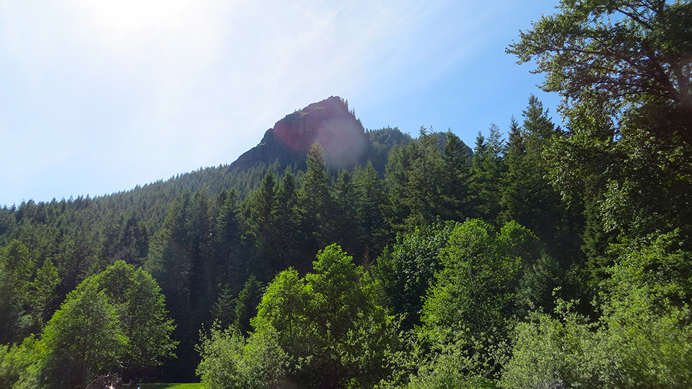 Looking up from the lake to Rattlesnake Ledge