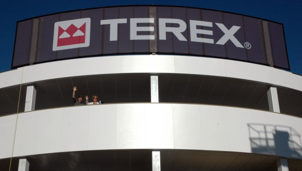 @ ConExpo: This amazing 3 story building was built in just 6 days! That's Kevin and Debbie waving.