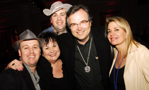 """@ Customer Party: Here I am showing off my bling with Dion, Marianne, Ken, <br />me (duh!) and Mary Vega (Marianne's chief """"party"""" partner in crime)."""
