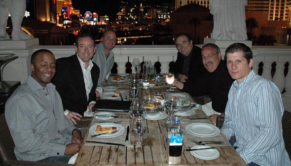 @ Boa: A fabulous dinner overlooking the strip with (L to R) Spence, John, Ryan, Phil, Terry and Joe.