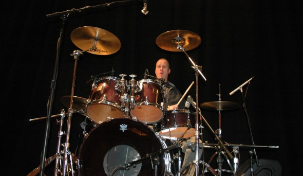 @ The Kickoff Dinner: Dion warming up the drums for The Terex All Star Band performance later.
