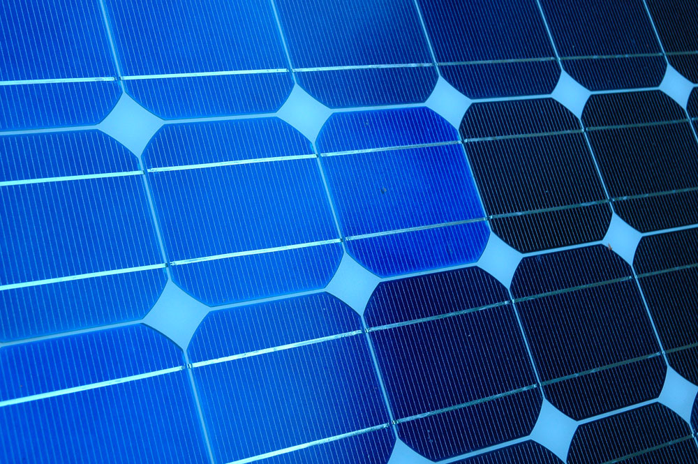 Solar panels provide clean, efficient and free energy. Very green and very blue.