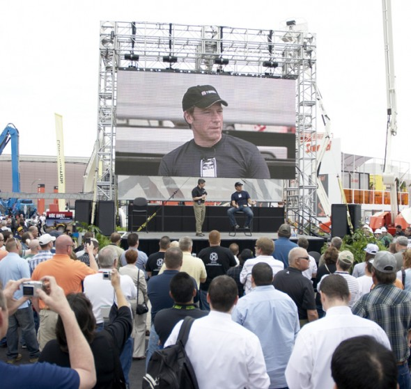 We worked with a crack AV team. Here you can see the stage and the giant LED screen that let people see Mike all the way across the gold lot.