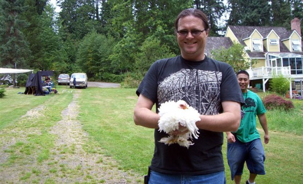 Location @ The Richard's house<br />Nate showing the crew how a chicken is properly wrangled.