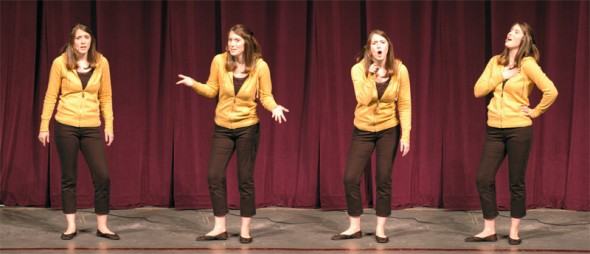Kelly performing her monologues. There were two. But now there are four.